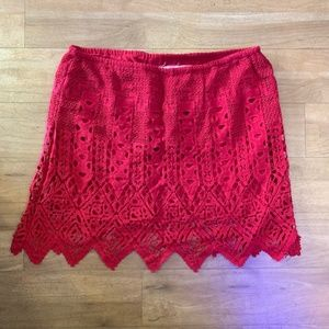 [Jen's Pirate Booty] Lovely lace red mini skirt
